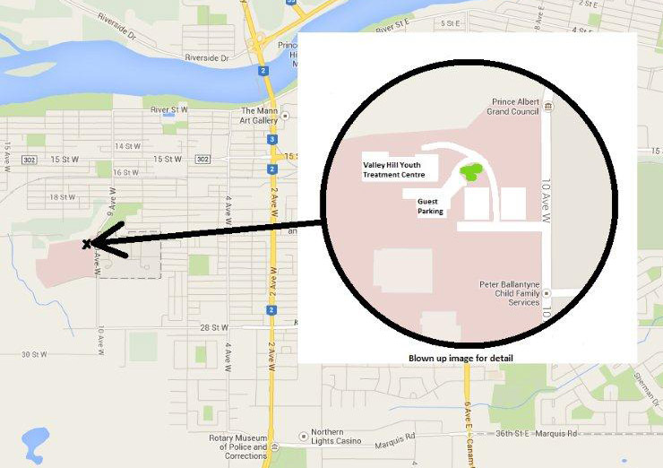 Map to Valley Hill Youth Treatment Center